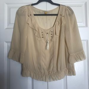 Leifsdottir 100% silk cream peasant blouse sz.2